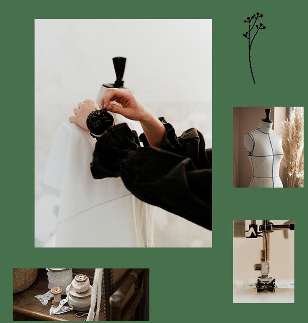 Ensemble de photos de l'atelier de couture avec machine à coudre et mannequin Stockman