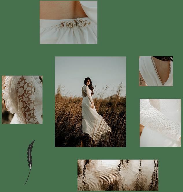 Ensemble de photos de la collection de robe de mariée Maud Vigneau les mariées de caractère