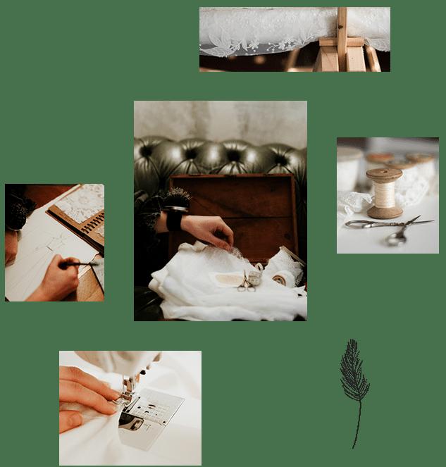 Assemblage de photos représentant la couture et la création de robe de mariée sur mesure